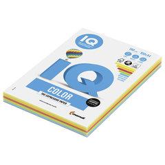 Бумага цветная IQ color, А4, 160 г/м2, 100 л. (5 цветов x 20 листов), микс интенсив, RB02