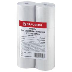 Рулоны для кассовых аппаратов и терминалов, термобумага 80х60х12 (60 м), комплект 6 шт., гарантия намотки, BRAUBERG
