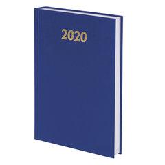 Ежедневник датированный 2020 А5 (145х215 мм) BRAUBERG, твердая обложка бумвинил, синий, 110907