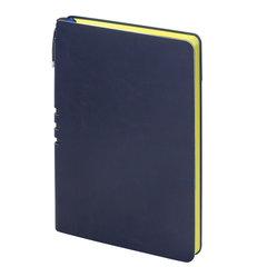 """Блокнот А5 (140x200 мм), BRAUBERG """"NEBRASKA"""", 112 л., гибкий кожзам, ручка, линия, темно-синий, 110949"""