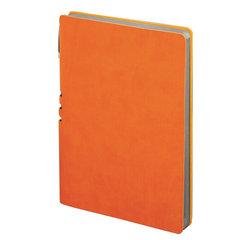 """Бизнес-блокнот BRAUBERG """"VIVELLA"""", А5-, 140x200 мм, кожзам, линия, 112 листов, ручка, оранжевый"""