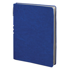"""Тетрадь А5 (175x215 мм), BRAUBERG """"NEBRASKA"""", 120 л., гибкий кожзам, ручка, клетка, синий, 110953"""