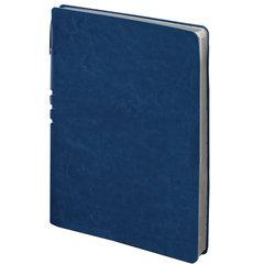 """Тетрадь А5 (175x215 мм), BRAUBERG """"NEBRASKA"""", 120 л., гибкий кожзам, ручка, клетка, темно-синий, 110954"""