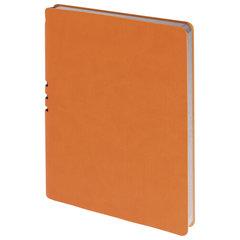 "Тетрадь А5 (175x215 мм), BRAUBERG ""NEBRASKA"", 120 л., гибкий кожзам, ручка, клетка, оранжевый, 110956"