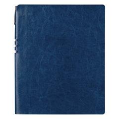 """Бизнес-тетрадь BRAUBERG """"NEBRASKA"""", А4-, 220x265 мм, кожзам, клетка, 96 листов, ручка, темно-синий"""