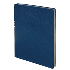 "Тетрадь БОЛЬШОЙ ФОРМАТ (220х265 мм) А4, BRAUBERG ""NEBRASKA"", 96 л., гибкий кожзам, ручка, клетка, темно-синий, 110959"
