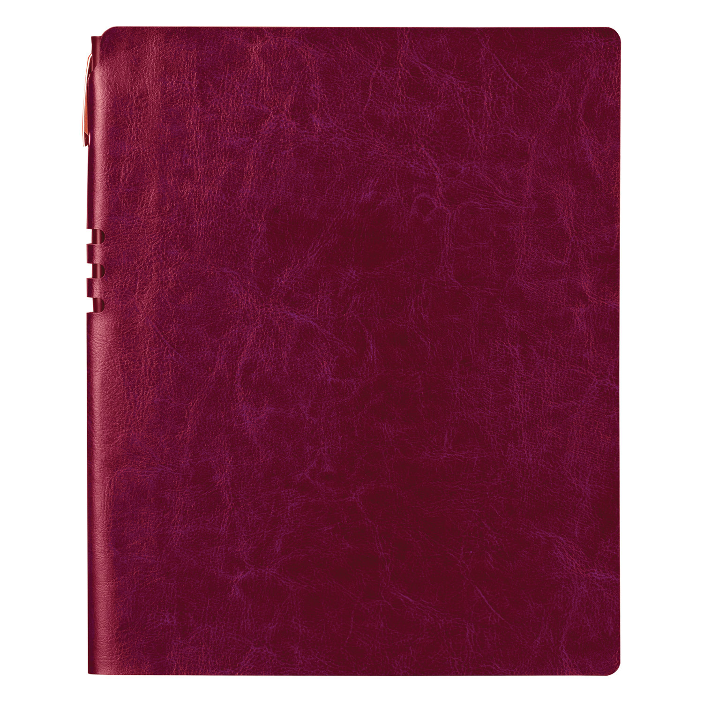 """Бизнес-тетрадь BRAUBERG """"NEBRASKA"""", А4-, 220x265 мм, кожзам, клетка, 96 листов, ручка, бордовый"""