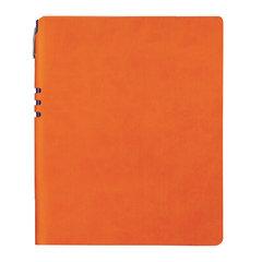 """Бизнес-тетрадь BRAUBERG """"NEBRASKA"""", А4-, 220x265 мм, кожзам, клетка, 96 листов, ручка, оранжевый"""