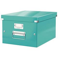 """Короб архивный LEITZ """"Click & Store"""" M, 200х280х370 мм, ламинированный картон, разборный, бирюзовый"""