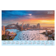 """Календарь А1 2020 г, 90х60 см, горизонтальный, """"Волшебные закаты"""", HATBER, Кл1_20737"""