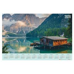 """Календарь, А1, 2020 год, 90х60 см, горизонтальный, """"Горный пейзаж"""", HATBER, Кл1_21076"""