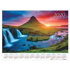"""Календарь А2 2020 год, 60х45 см, горизонтальный, """"Закат в горах"""", HATBER, Кл2_20727"""