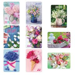 """Календарь карманный 2020 год, 7х10 см, ламинированный, """"Цветы"""", HATBER, 326619"""