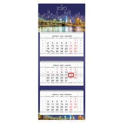 """Календарь квартальный 2020 год, """"Люкс"""", 3 блока на 3-х гребнях, 3D, """"Ночной город"""", HATBER, 3Кв3гр2ц_12523"""