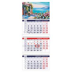 """Календарь квартальный 2020 г, """"Офис"""", 3 блока на 3-х гребнях, """"Цветочная акварель"""", HATBER, 3Кв3гр3_17102"""