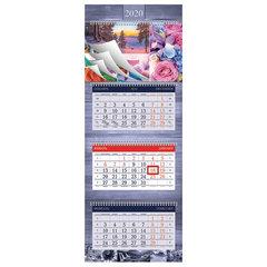 """Календарь квартальный 2020 год, """"СуперЛюкс"""", 3 блока на 4-х гребнях, """"Multicolor"""", HATBER, 3Кв4гр2ц_20788"""