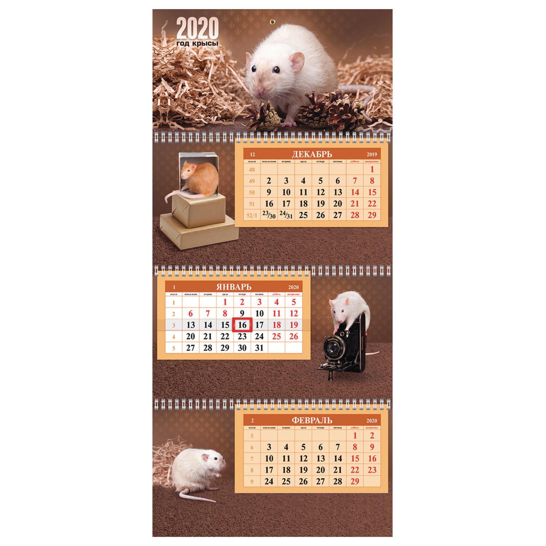 """Календарь квартальный 2020 год, """"Экстра"""", 3 блока на 3-х гребнях, """"Знак Года"""", HATBER, 3Кв3гр3ц_20969"""