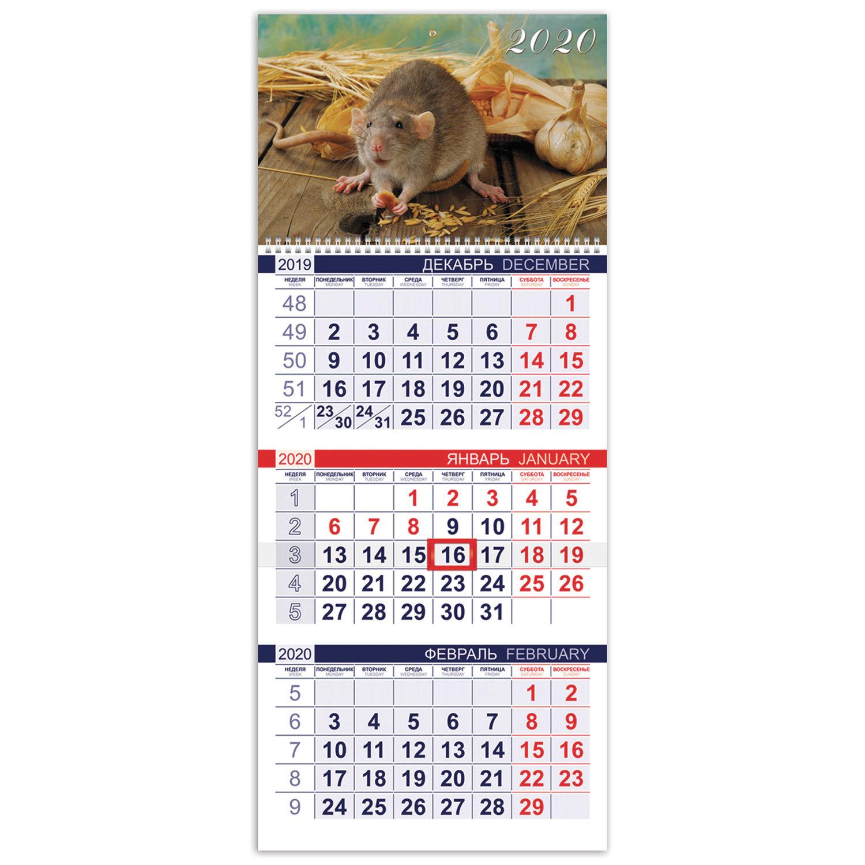 """Календарь квартальный 2020 год, """"Эконом"""", 3 блока на 1-м гребне, """"Знак Года"""", HATBER, 3Кв1гр3_20507"""