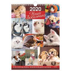 """Календарь с ригелем 2020 г, 23,5х32 см, Еженедельник, 56 листов, """"Наши любимчики"""", HATBER, 56Кнп4гр_21082"""