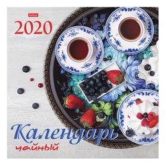 """Календарь настенный перекидной 2020 г, 6 листов, 30х30 см, """"Чайный"""", HATBER, 6Кнп4_20971"""