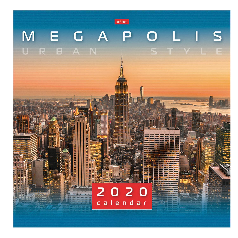 """Календарь настенный перекидной 2020 год, 6 листов, 30х30 см, """"Мегаполис"""", HATBER, 6Кнп4_19087"""
