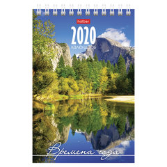 """Календарь-домик 2020 г, на гребне, 160х105 мм, вертикальный, """"Времена года"""", HATBER, 12КД6гр_14527"""