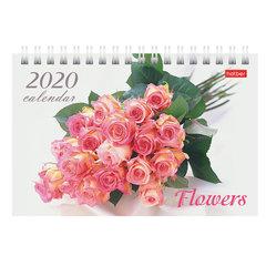 """Календарь-домик 2020 год, на гребне, 160х105 мм, горизонтальный, """"Flowers"""", HATBER, 12КД6гр_04087"""