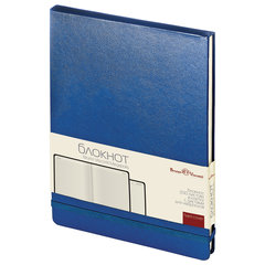 Бизнес-Блокнот, А5, 100 л., твердая обложка, балакрон, открытие вверх, Bruno Visconti, Синий