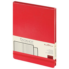 Бизнес-Блокнот, А5, 100 л., твердая обложка, балакрон, открытие вверх, BRUNO VISCONTI, Красный