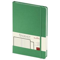 Бизнес-Блокнот А5, 100 л., твердая обложка, балакрон, на резинке, BV, Зеленый