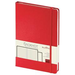 Бизнес-Блокнот А5,100 л., твердая обложка, балакрон, на резинке, BV, Красный