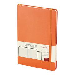 Бизнес-Блокнот А5, 100 л., твердая обложка, балакрон, на резинке, BV, Оранжевый