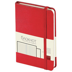 Бизнес-Блокнот А6, 100 л., твердая обложка, балакрон фактурный, на резинке, BV, Красный