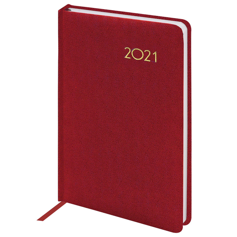 "Ежедневник датированный 2021 А5 (138х213 мм) BRAUBERG ""Select"", балакрон, красный, 111398"