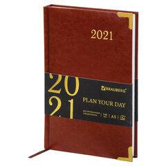 """Ежедневник датированный 2021 А5 (138х213 мм) BRAUBERG """"Senator"""", кожзам, коричневый, 111410"""