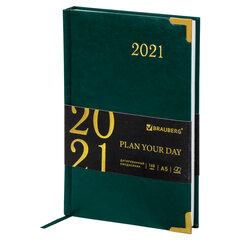 """Ежедневник датированный 2021 А5 (138х213 мм) BRAUBERG """"Senator"""", кожзам, зеленый, 111412"""