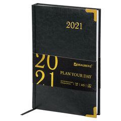 """Ежедневник датированный 2021 А5 (138х213 мм) BRAUBERG """"Senator"""", кожзам, черный, 111413"""