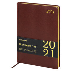 """Ежедневник датированный 2021 БОЛЬШОЙ ФОРМАТ (210х297 мм) А4, BRAUBERG """"Iguana"""", кожзам, коричневый, 111420"""