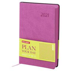 "Ежедневник датированный 2021 А5 (138х213 мм) BRAUBERG ""Stylish"", кожзам, розовый, 111441"
