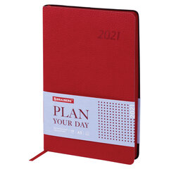"Ежедневник датированный 2021 А5 (138х213 мм) BRAUBERG ""Stylish"", кожзам, красный, 111445"
