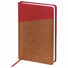 """Ежедневник датированный 2021 А5 (138x213 мм) BRAUBERG """"Cork"""", кожзам, красный/коричневый, 111448"""