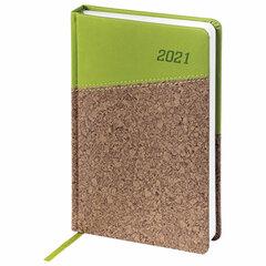 """Ежедневник датированный 2021 А5 (138x213 мм) BRAUBERG """"Cork"""", кожзам, зеленый/коричневый, 111450"""