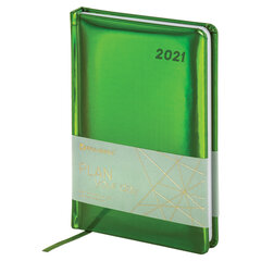 "Ежедневник датированный 2021 А5 (138х213 мм) BRAUBERG ""Holiday"", кожзам ""зеркальный"", зеленый, 111458"