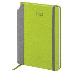 "Ежедневник датированный 2021 А5 (138х213 мм) BRAUBERG ""Mosaic"", кожзам, карман для ручки, зеленый, 111461"