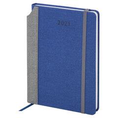 """Ежедневник датированный 2021 А5 (138х213 мм) BRAUBERG """"Mosaic"""", кожзам, карман для ручки, синий, 111462"""