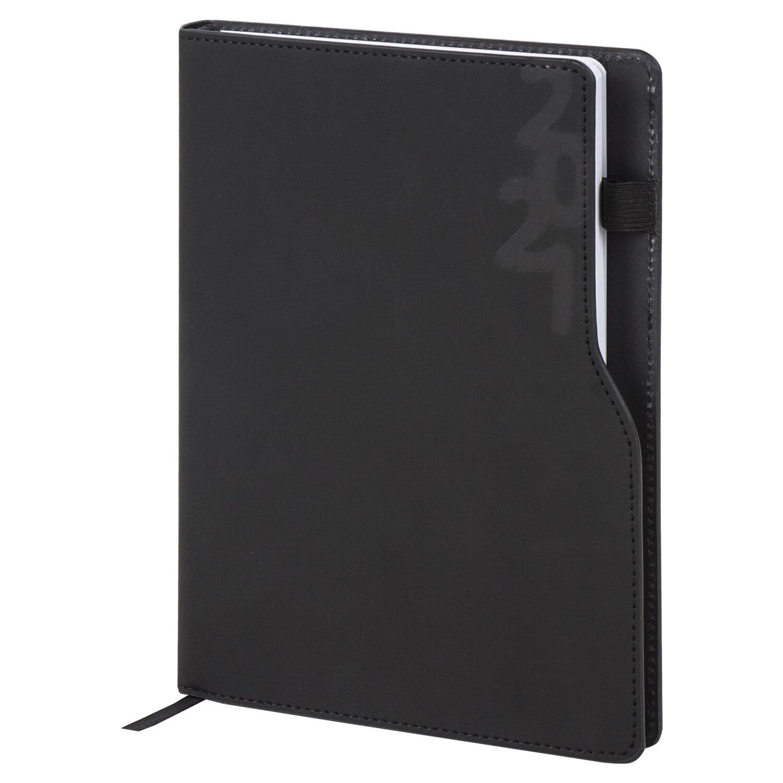 """Ежедневник датированный 2021 А5 (138х213 мм) BRAUBERG """"Up"""", кожзам, софт-тач, держатель для ручки, черный, 111464"""