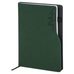 """Ежедневник датированный 2021 А5 (138х213 мм) BRAUBERG """"Up"""", кожзам, софт-тач, держатель для ручки, зеленый, 111465"""