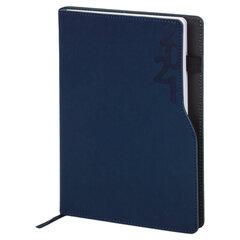 """Ежедневник датированный 2021 А5 (138х213 мм) BRAUBERG """"Up"""", кожзам, софт-тач, держатель для ручки, синий, 111466"""