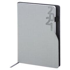 """Ежедневник датированный 2021 А5 (138х213 мм) BRAUBERG """"Up"""", кожзам, софт-тач, держатель для ручки, серый, 111467"""
