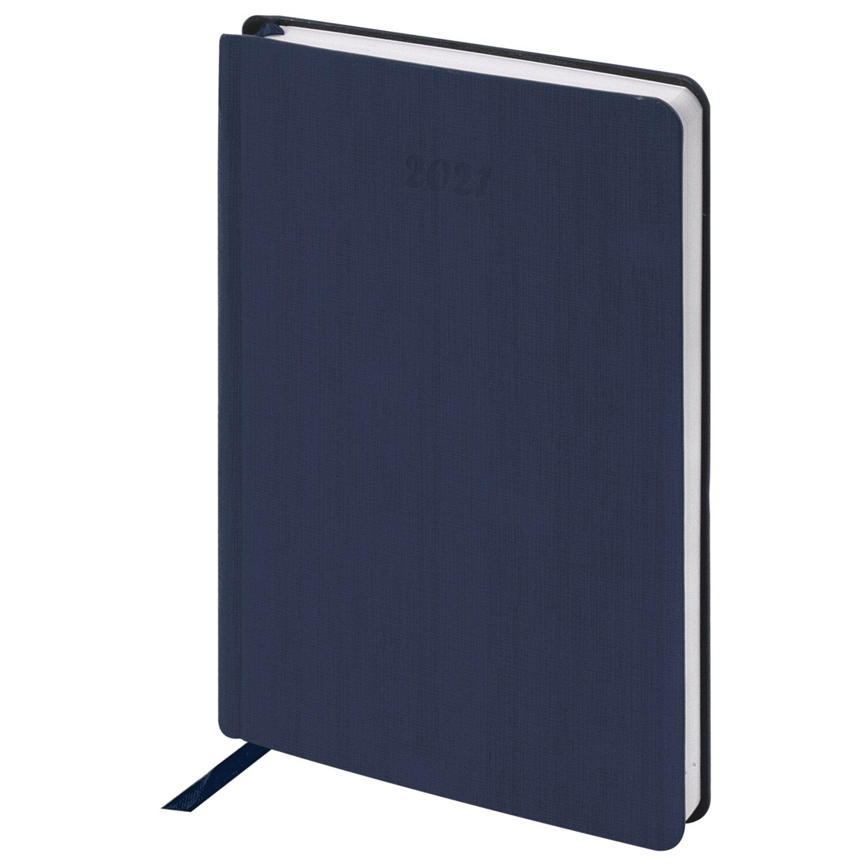 """Ежедневник датированный 2021 А5 (138х213 мм) BRAUBERG """"Voyage"""", кожзам, карман для ручки, синий, 111469"""
